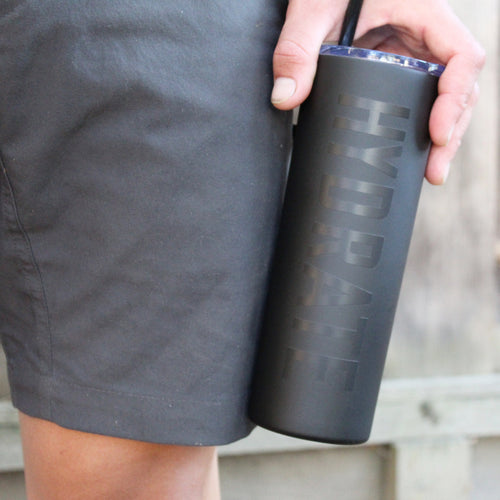 Hydrate Black on Black Skinny Tumbler