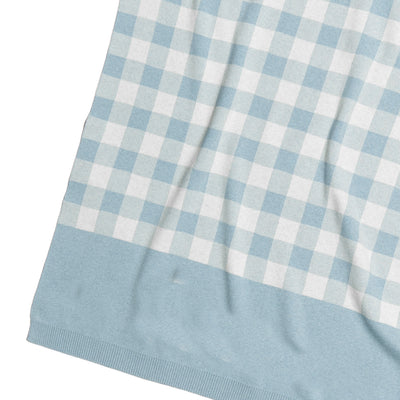 CHECK Cotton Cashmere Chambray Blue & Milk Name Blanket