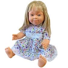 Girl with Down Syndrome Features. Blonde Long Hair