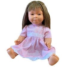 Girl with Down Syndrome Features. Brunette Long Hair