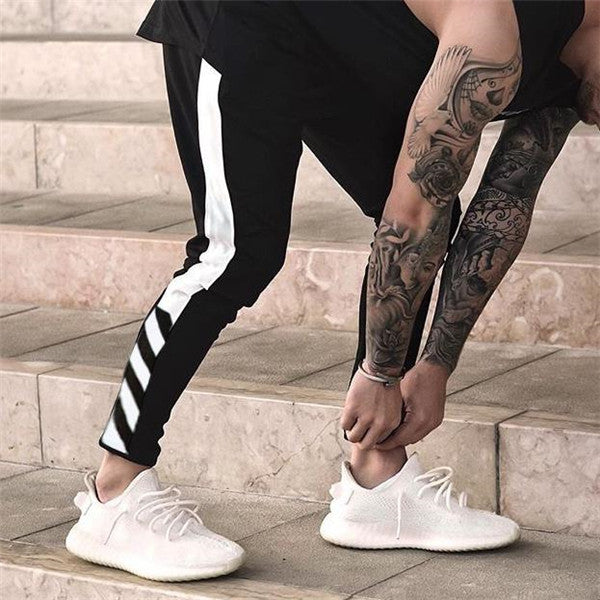 Casual Youth Sport Close-Fitting Strip Elastic Waist Pants