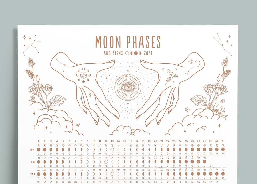 2021 Moon Phases + Signs Calendar