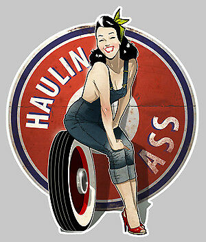 STICKER PINUP V8 USA BIG BLOCK HOT ROD PIN UP AUTOCOLLANT AUTO PA090