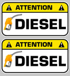 2 STICKERS ATTENTION DIESEL GASOIL DA128