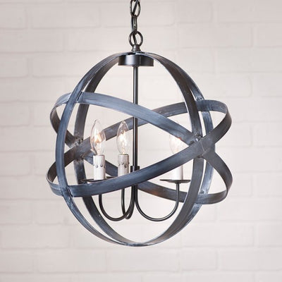 15-Inch Strap Sphere 3-Arm Chandelier in Black