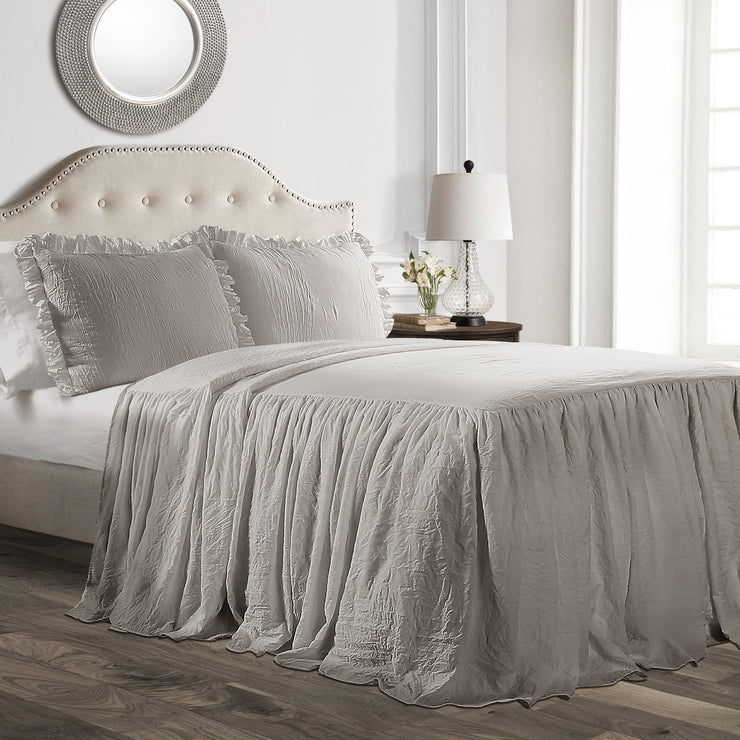 Gray Ruffle Farmhouse Bedding