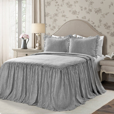 Ticking Stripe Farmhouse Bedspread Set