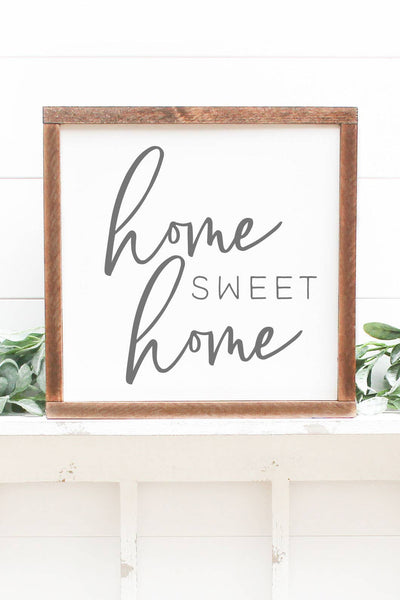 12x12 Wood Frame Sign-Home Sweet Home