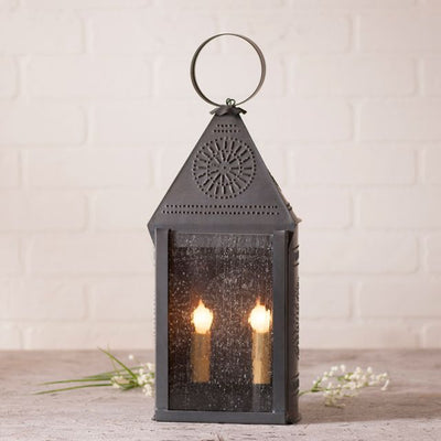 Hospitality Lantern with Chisel in Kettle Black