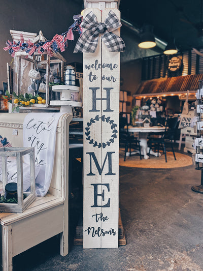 6FT CUSTOM Family Name Home Sweet Home Porch Sign | Linen White