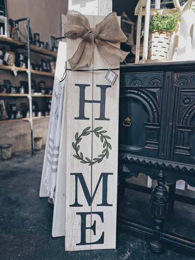 4FT Olive Wreath HOME Porch Sign | Linen White