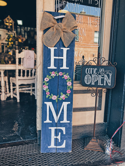 4FT Floral Wreath HOME Porch Sign | Navy Blue