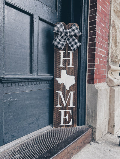 4FT Stained Home TX Porch Sign