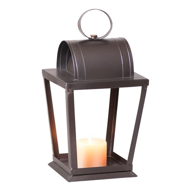 Square Angled Sitting Candle Lantern in Black Tin