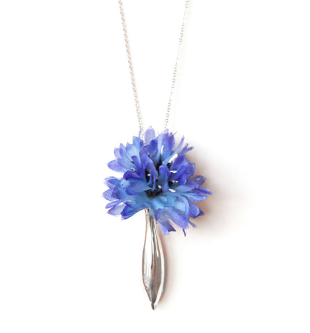 A Navy Blue Flower in a small vase necklace by Fleurings makes a lovely Bridesmaid Necklace