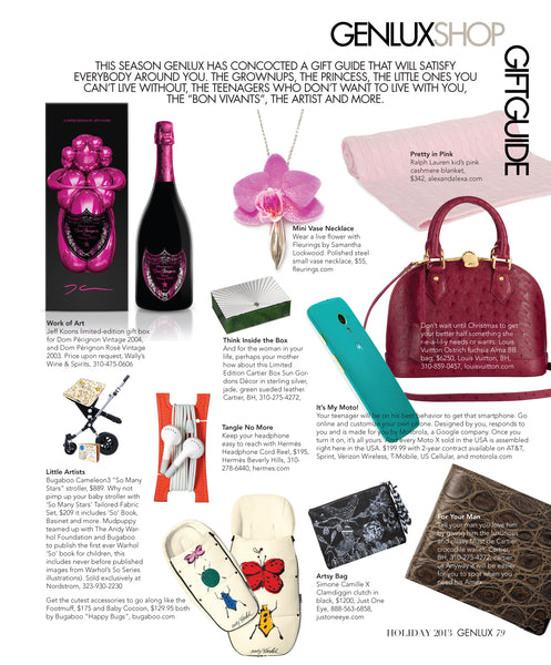 Genlux Holiday Issue 2013 Gift Guide l Fleurings Vase Jewelry l Pink Orchid Necklace l Vase Necklace l Hawaiian Lei Style Necklace