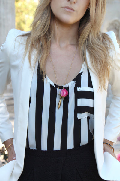PInk Rose Necklace makes a nice Floral Accessory to soften this black and white pant suit on Rachael at Everything Hauler l Vase Jewelry by Fleurings
