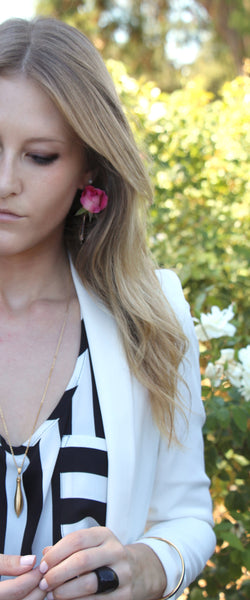 Pink Roses in Vase Earrings by Fleurings l Everything Hauler Rachael Dickshute