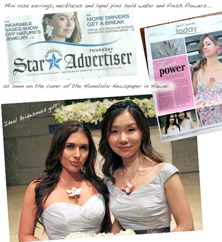 Honolulu Star Magazine Cover Story features actress Samantha Lockwood and her Fleurings vase jewelry as the perfect Hawaiian jewelry l Beach Wedding Jewelry