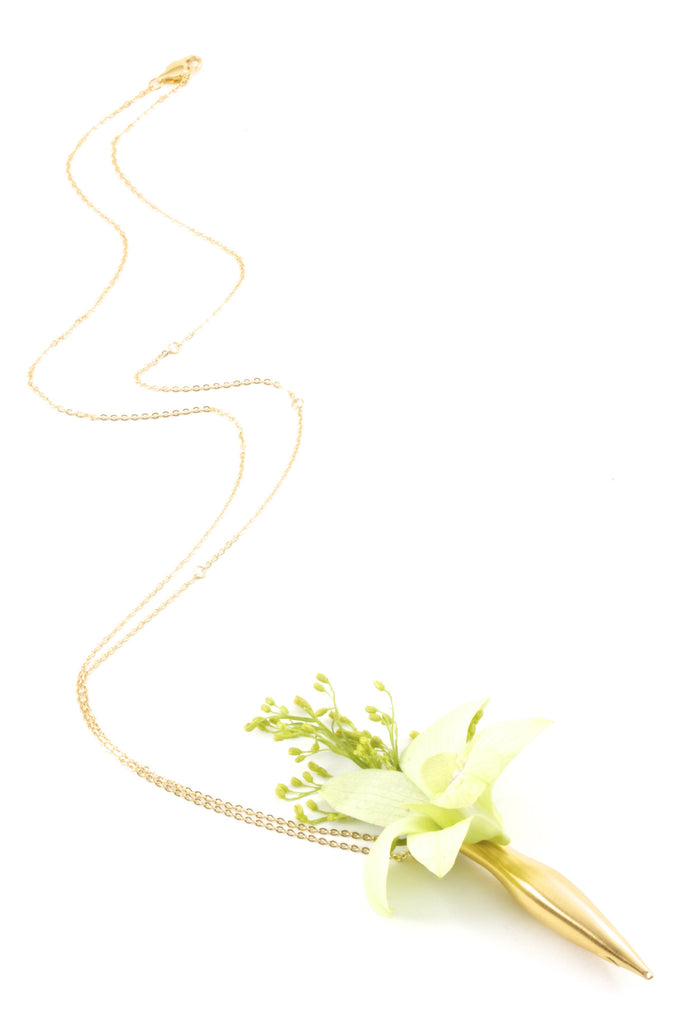 Fleurings Medium Vase Necklace Brushed 14KT Gold Bridal Necklace for Bridesmaids holds water and keeps flowers fresh!