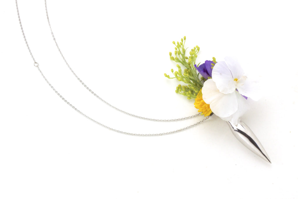 Wedding Jewelry l Flower Holding Necklace for Weddings by Fleurings Vase Bridal Jewelry