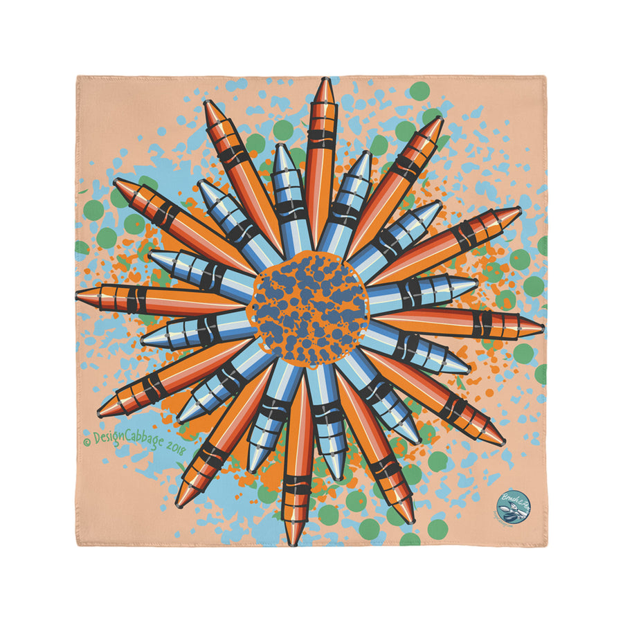 Crayon Flower Mandala Art Graphic Scarf | Brush&Pen® by DesignCabbage®