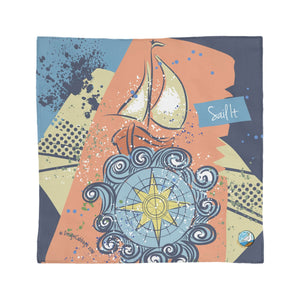 Sailing by Compass Ocean Travel Original Art Scarf | BoatBird® by DesignCabbage®