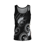 Teaz Pole Dancer Tank Top, Speaker Design Black & Gray ( Women's )