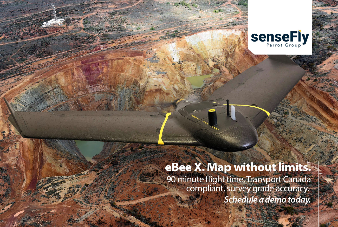 Sensefly eBee X, map without limits, 90 minute flight time, transport canada compliant, survey grade accuracy, schedule a demo today