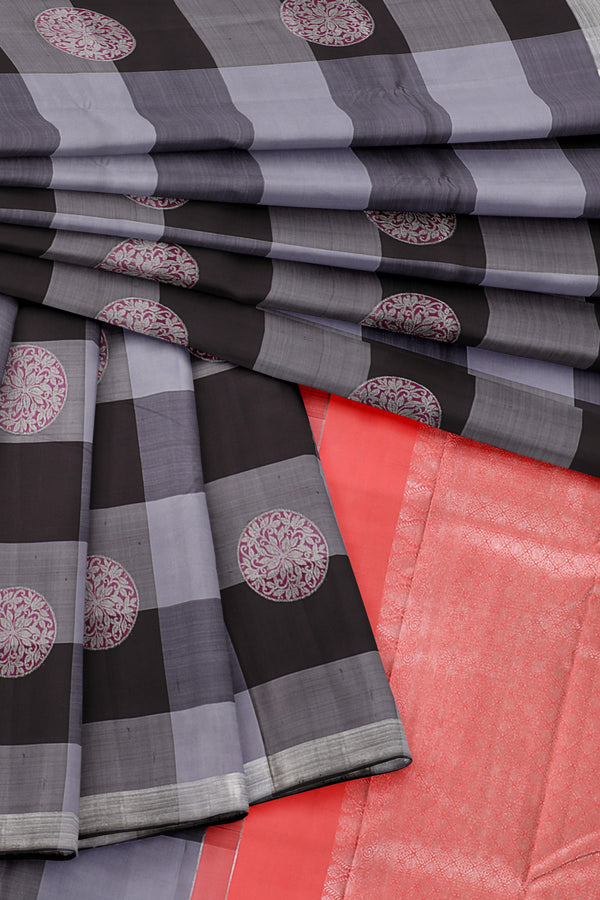 Black and grey saree with orange border