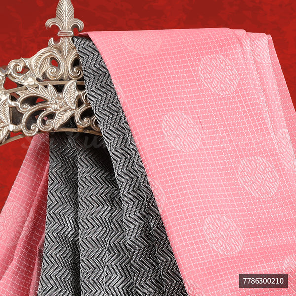 Baby Pink Saree With Black Border