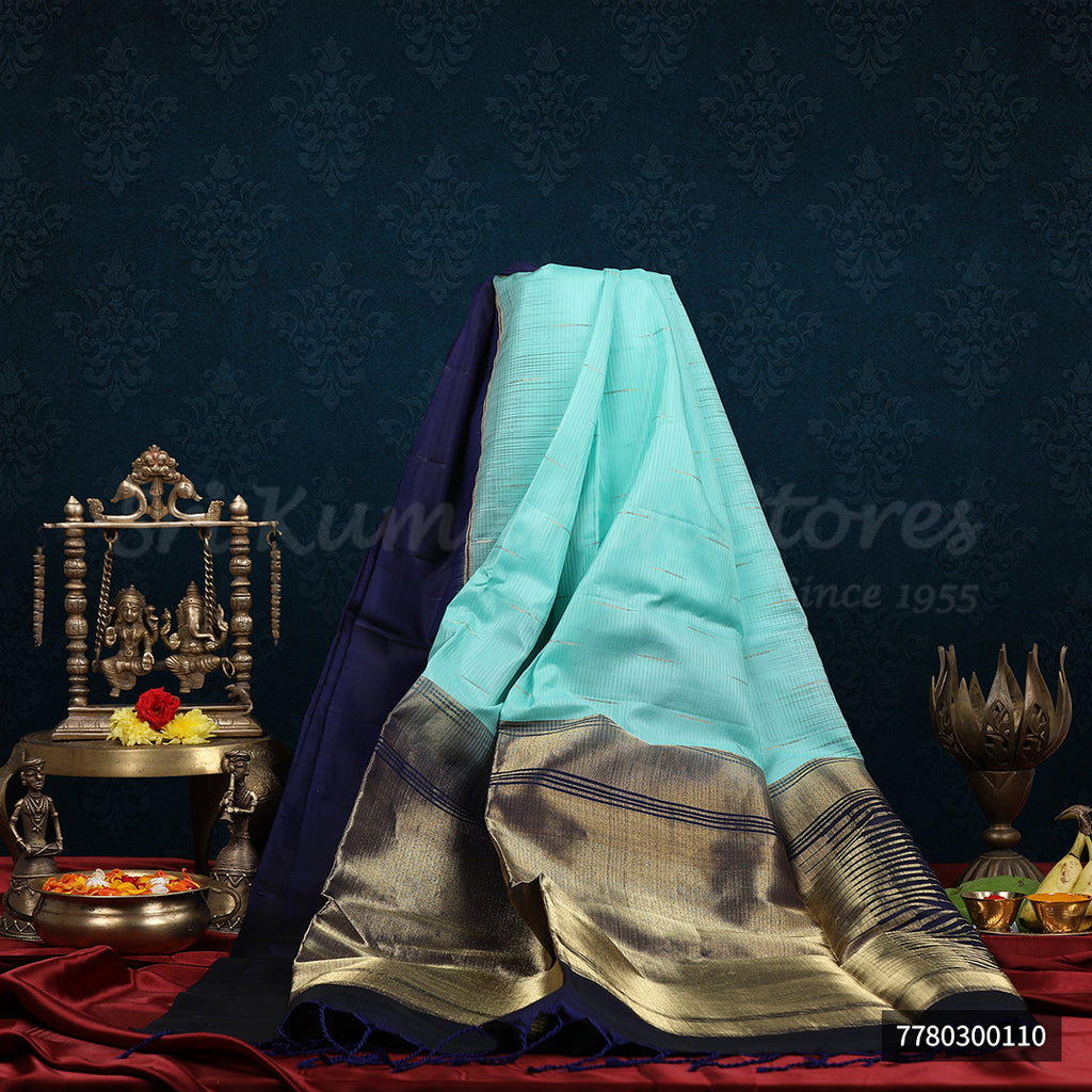 Blue Saree With Dark Blue Border