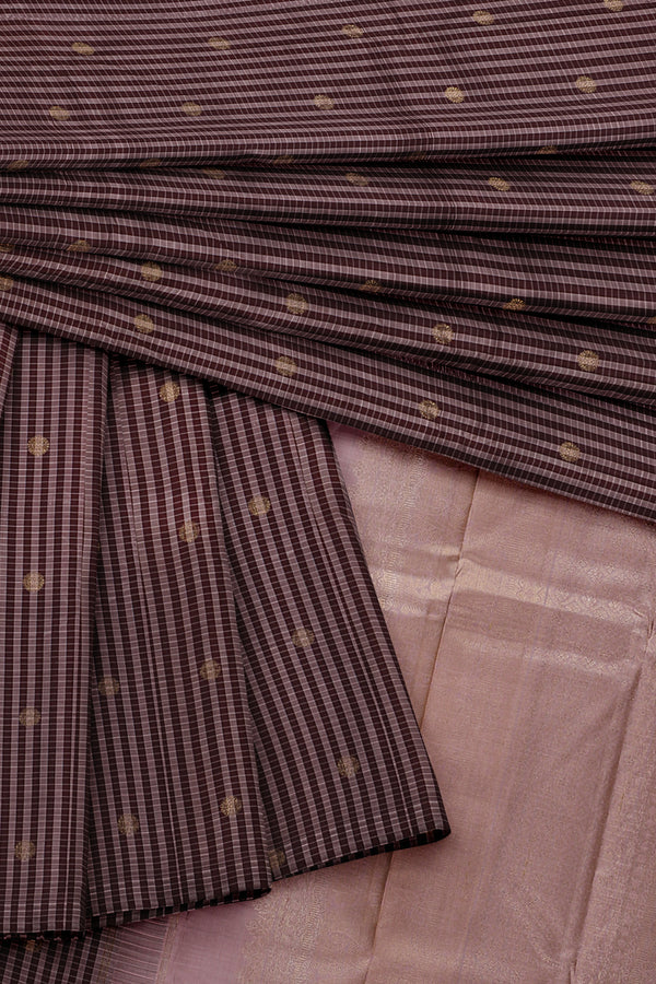 Brown Saree with Light Brown Border