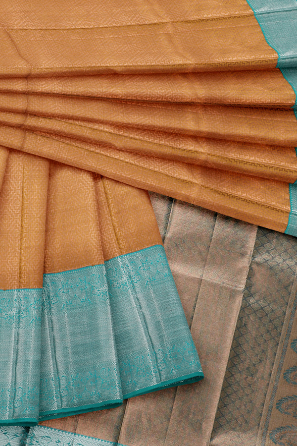 Copper saree with turquoise blue border