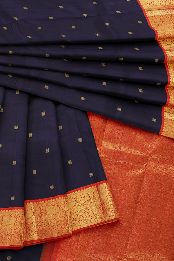 Dark blue saree with orange border