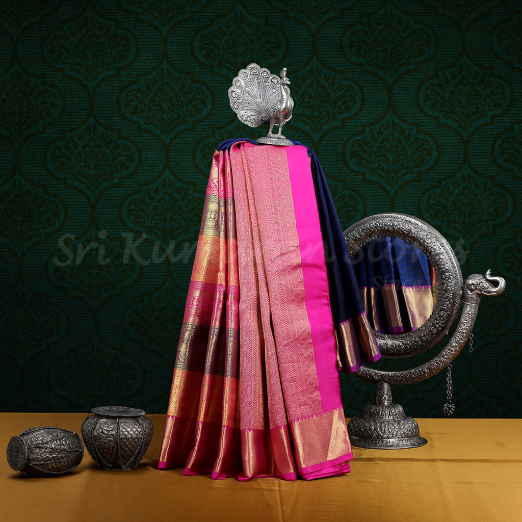 Dark Blue Saree With Pink Border