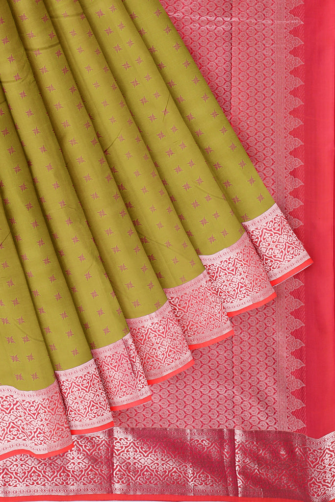 Green saree with pink and silver border