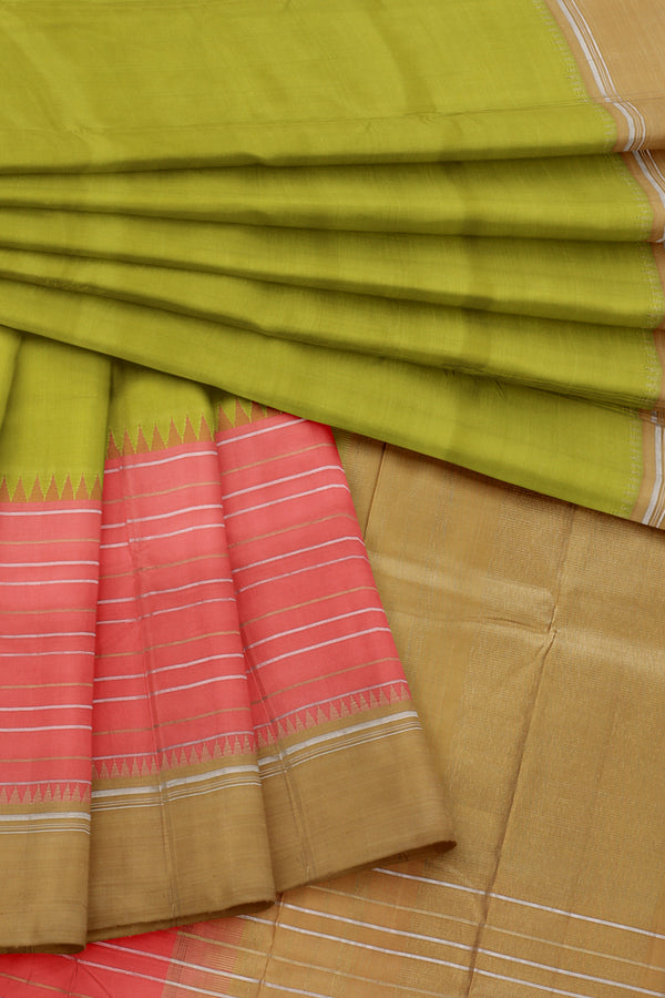 Green saree with Yellow border