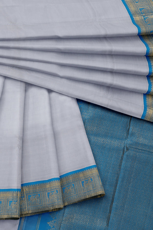 Grey Saree with Blue Border