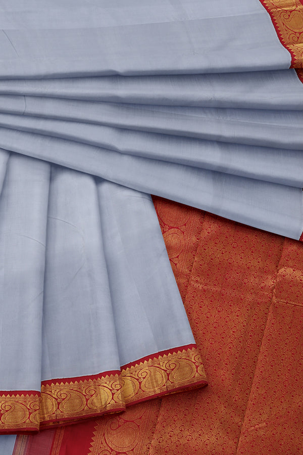 Grey Saree with Red and Gold Border