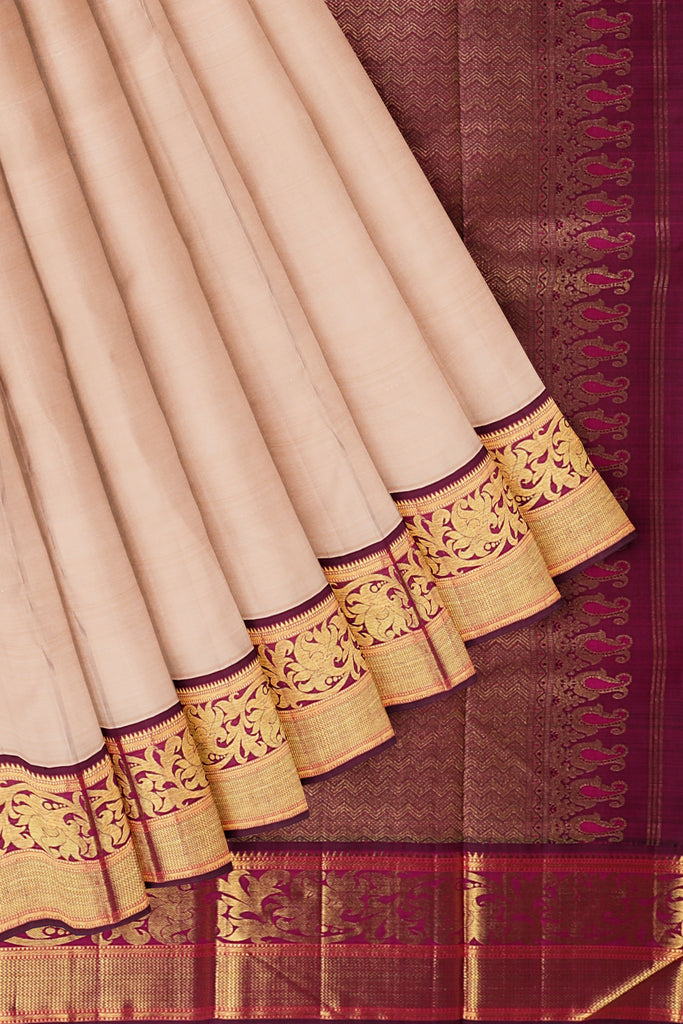 Half White Saree with Maroon Border