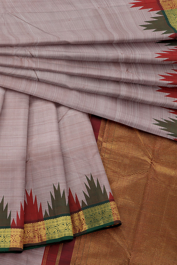 Half White Saree with red Border