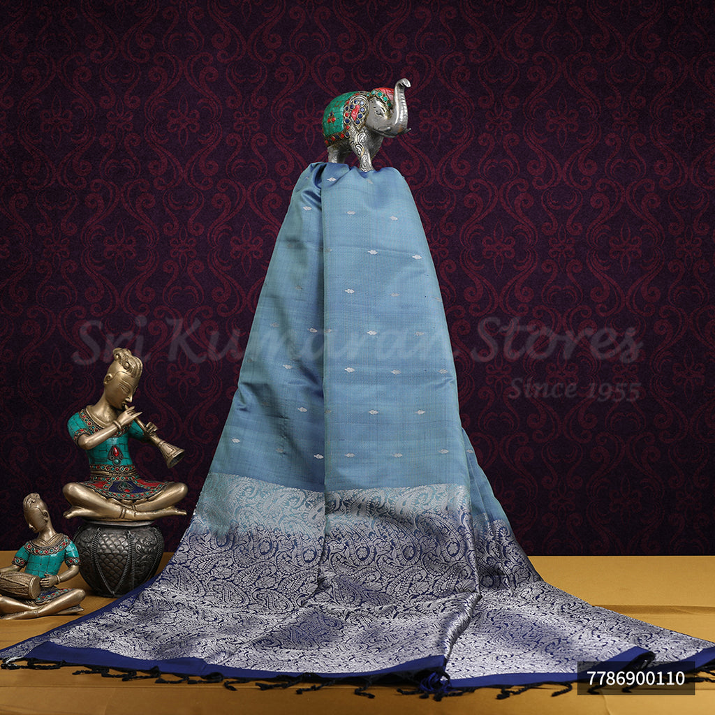 Light Blue Saree With Dark Blue Border