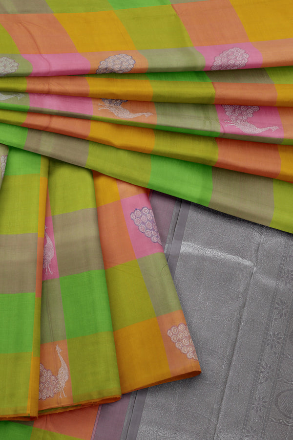 Multi colour saree with silver border