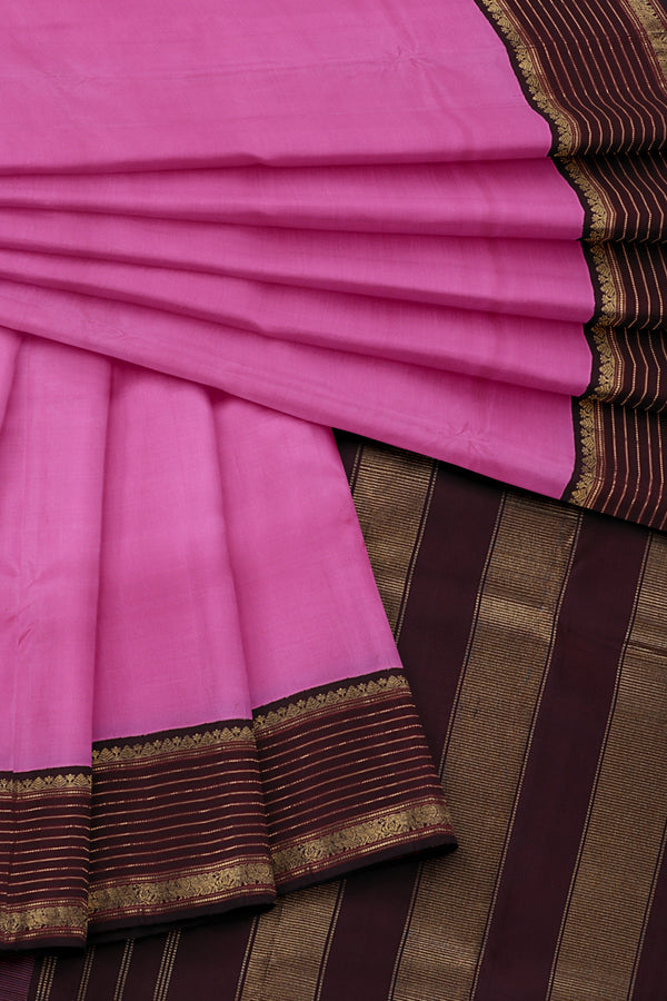 Pink Saree with Dark Brown Border