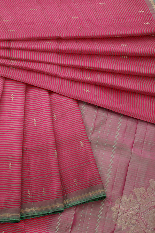 Pink Saree with pink Border