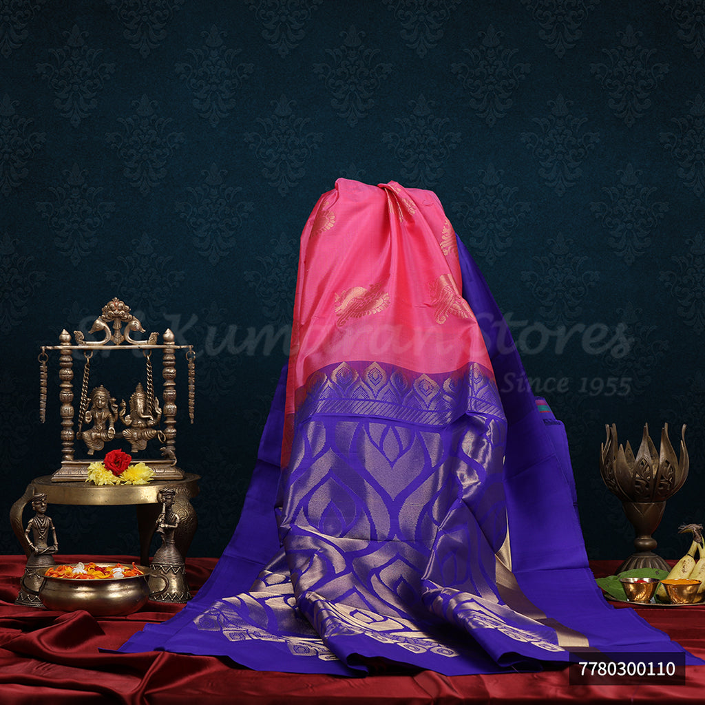 Pink Saree With Purple Border
