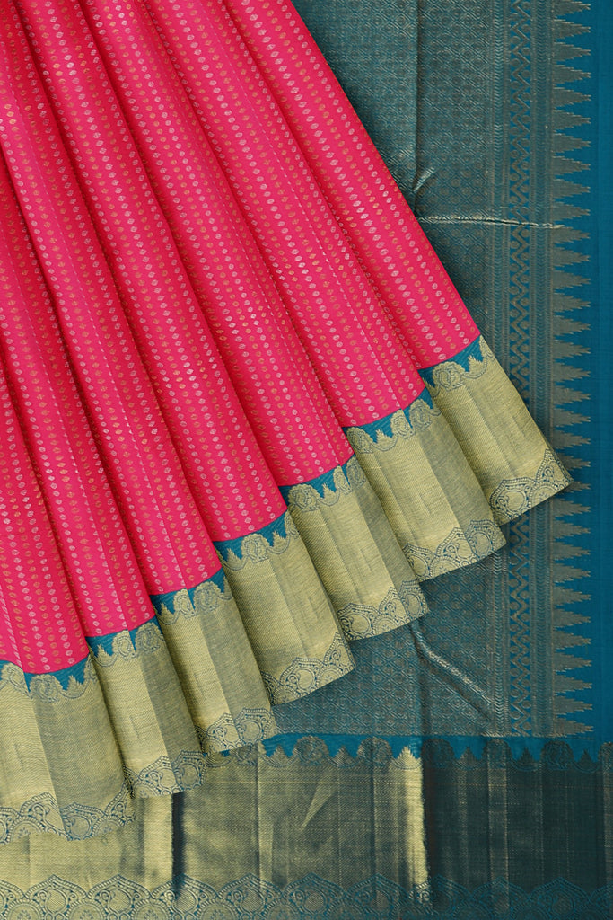 Pink saree with Torquoise Blue Border