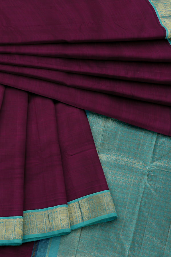 Purple Saree with Blue Border