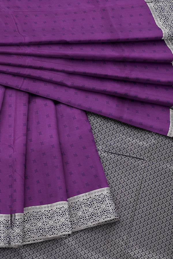 Purple Saree with Silver Border